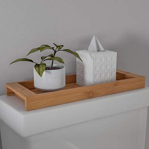 Lavish Home Bamboo Bathroom Vanity Tray-Natural Wood Eco-Friendly Holder for Towels, Toiletries, Cosmetics, Decor and More-Modern Bath Accessories