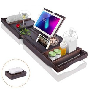 Bath Tub Tray Caddy, Bathtub Shelf Table, Clawfoot tub Accessories, Luxury Natural Wooden Bathtub Tray with Soap box, bath towel Holder, Wine Glass Holder, Reading Rack, Tablet Holder, Phone Tray etc.