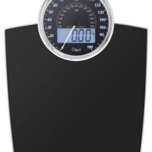 Ozeri Rev 400 lbs (180 kg) Bathroom Scale with Electro-Mechanical Weight Dial and 50 gram Sensor Technology (0.1 lbs / 0.05 kg), Black
