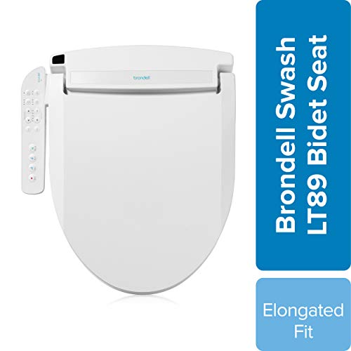 Brondell LT89 Swash Electronic Bidet Seat LT89, Fits Elongated Toilets, White – Side Arm Control, Warm Water, Strong Wash Mode, Stainless-Steel Nozzle, Nightlight and Easy Installation, LT89