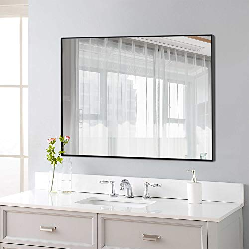 """NeuType Rectangular Hanging Mirror Wall Mirror for Bathrooms, Entryways, Living Rooms and More (38"""" x 26"""", Black (Thin Frame))"""