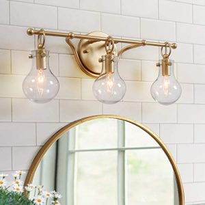 "KSANA Gold Bathroom Light Fixtures with Clear Glass Shades A03631, 20""(L) x 8.5""(H) x 6""(W)"