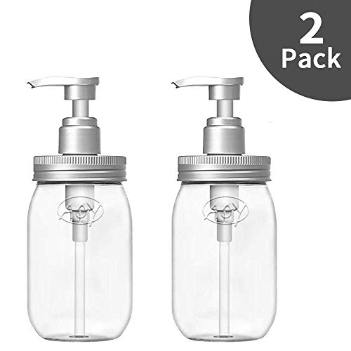 Luvan Soap Dispenser,Made of BPA Free Plastic, 16oz Refillable Clear Plastic Bottles for Essential Oils,Lotions,Liquid Soap etc (Set of 2)