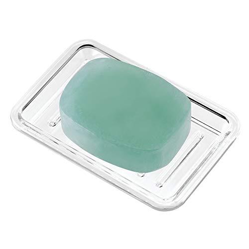 "iDesign Royal Plastic Rectangular Soap Saver, Bar Holder Tray for Bathroom Counter, Shower, Kitchen, 3.5"" x 5.25"", Clear"