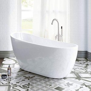 "WOODBRIDGE Acrylic Freestanding Bathtub Contemporary Soaking Tub with Brushed Nickel Overflow and Drain B-0006-B/N-Drain &O, 54"" B-0006"