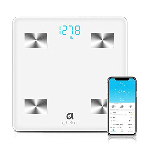 Arboleaf Digital Scale - Bluetooth Smart Scale Bathroom Weight Scale, Body Fat Monitor, 10 Key Composition, iOS Android APP, Unlimited Users, Auto Recognition, BMI, BMR