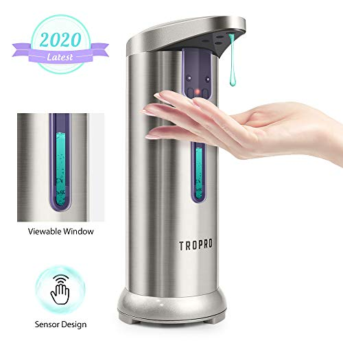 Soap Dispenser, TROPRO Automatic Sensor Touchless Liquid Soap Dispenser Pump, Dish Hands-free for Bathroom, Kitchen with Waterproof Base & Semi Transparent Window [2020 Version Leak-Proof]