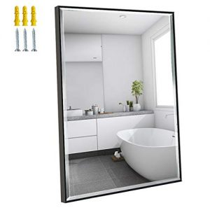 Calenzana 22x30 Mirror Wall Hanging Black Frame Mirrors for Bathroom Living Room Bedroom Makeup Vanity, Explosion-Proof