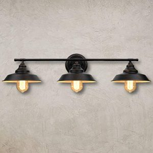 Bathroom Vanity Light 3-Light Wall Sconce, Industrial Wall Mount Lamp Shade with E26 Base Socket, Farmhouse Rustic Style Vintage Lighting Fixture for Bathroom Kitchen Living Room, Dark Bronze