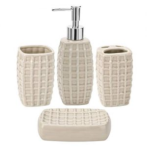 JOTOM Ceramic Bath Accessory Set Luxury Bathroom Accessories Set-4 Pieces with Decorative Hand Sanitizer Bottle,Toothbrush Cup,Toothbrush Holder,Soap Dish (Beige)