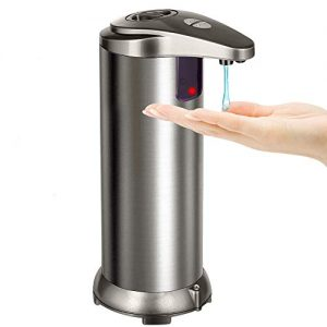 Letsmeet Touchless Automatic Liquid Soap Dispenser; Great for Kitchen and Bathroom; Hands Free auto IR Motion Sensor; Water-Resistant Base; Stainless Steel Body; Soap Level Window, On-Off Button