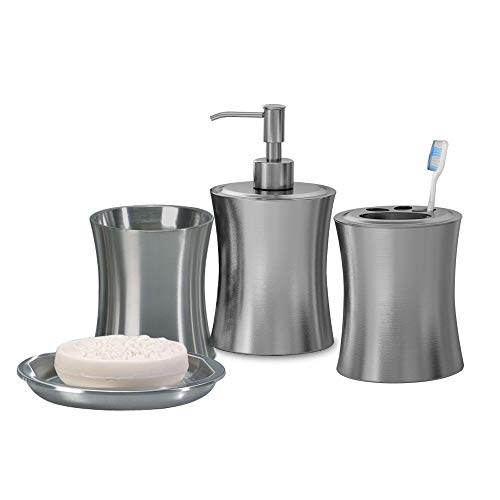 nu steel Elite Bath Accessory Set for Vanity Countertops, 4 Piece Luxury Ensemble Includes Dish, Toothbrush Holder, Tumbler, soap and Lotion Pump, Brushed Stainless