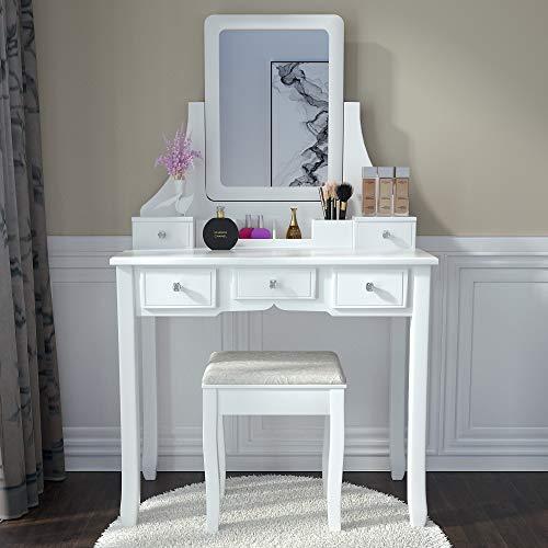 Amolife Makeup Vanity Table Set with Mirror, Drawers and Stool,Make up Table with 5 Drawers and Organizer, White