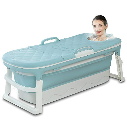 Portable Bathtub for Adults, Foldable Children Tub Household Bath Basin, Constant Temperature with Cover Blue 54inches