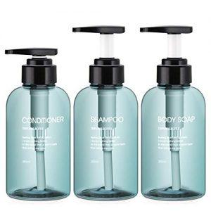 Segbeauty 3pcs Dispenser Bottles for Bathroom, 10.1oz/300ml Refillable Pump Bottles for Liquid Body Soap Shampoo Conditioner Shower Gel Hotel Home Plastic Press Lotion Dispenser - Blue