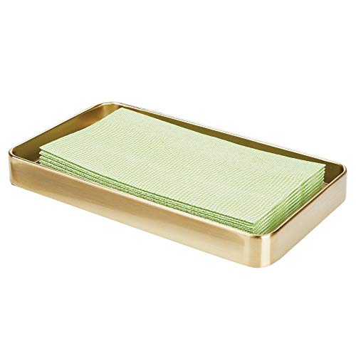 mDesign Modern Decorative Metal Guest Hand Towel Storage Tray Dispenser, Sturdy Holder for Disposable Paper Napkins - Bathroom Vanity Countertop Organization - Soft Brass
