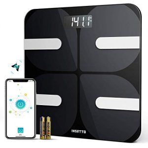 INSETTO Smart Bathroom Scale with BMI and Body Fat, 11.8 inch Scales Digital Weight for People, Tracks 18 Key Fitness Compositions with Smartphone App, 400lbs