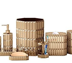 nu steel Glitz Gold Resin Bath Accessory Set for Vanity Countertop, 9 pcs Luxury Ensemble - Cotton Swab, soap Dish, Toothbrush Holder, Tumbler, soap Pump, Waste Basket, Tissue Box, Tray, Toilet Brush