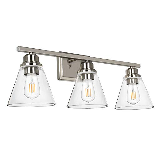 Hykolity 3-Light Bathroom Light, Led Edison Bulbs Included, Brushed Nickel Vanity Light Fixtures, Bathroom Wall Sconce Lighting with Clear Glass Shades, ETL Listed