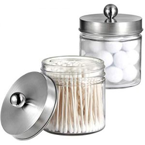 Bathroom Vanity Glass Storage Organizer Holder Canister Apothecary Jars for Cotton Swabs, Rounds, Balls, Qtips,Makeup Sponges, Flossers,Bath Salts - 2 Pack, Clear (Brushed Nickel)