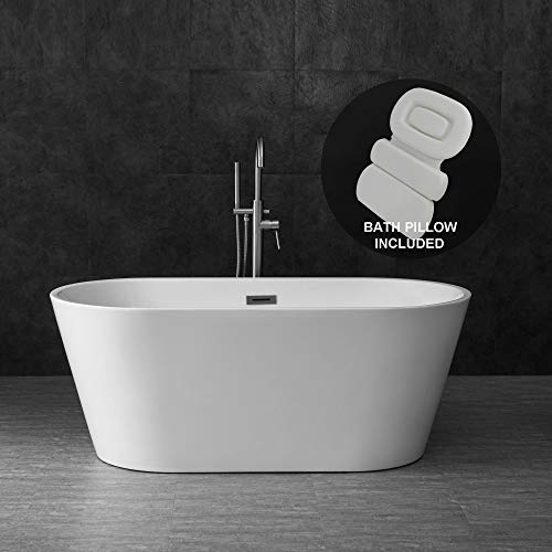 """WOODBRIDGE Acrylic Freestanding Contemporary Soaking Tub with Brushed Nickel Overflow and Drain, Including Bathtub Spa, 59"""" B-0014 With Pillow"""