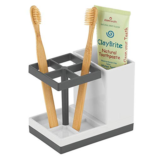 mDesign Decorative Plastic Bathroom Toothbrush and Toothpaste Stand Holder - Dental Organizer with 5 Storage Compartments - Light/Dark Gray