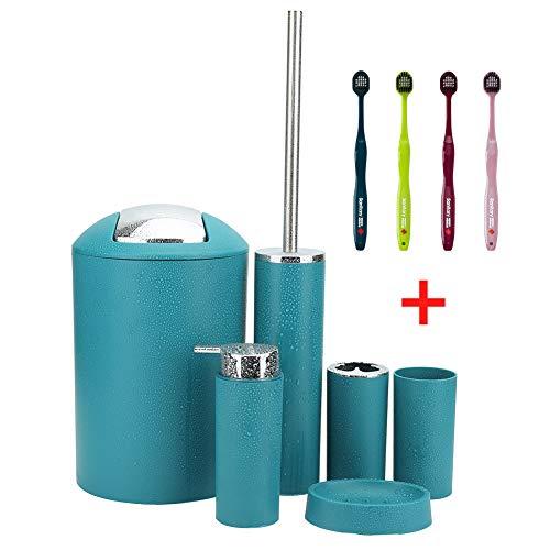 Otostar 6 Piece Bathroom Accessories Set Plastic Bath Accessories Lotion Bottles,Toothbrush Holder, Soap Dish,Toilet Brush with Holder,Trash Can,Tooth Mug Decorative Housewarming Gift (Dark Green)