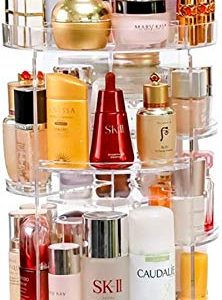 Acrylic Makeup Organizer, 360 Degree Rotating Adjustable Cosmetic Storage Display Case with 8 Layers, Large Capacity, Fits Lipsticks, bottle, Crema and More, Clear Transparent (17.1inch Height)