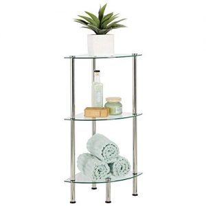 mDesign Bathroom Floor Storage Corner Tower, 3 Tier Open Glass Shelves - Compact Shelving Display Unit - Multi-Use Home Organizer for Bath, Office, Bedroom, Living Room - Clear/Chrome Metal