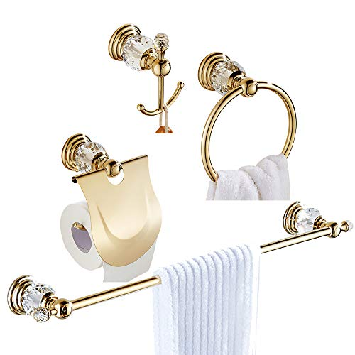 WOLIBEER Gold Bathroom Accessory Sets of 4 Pieces All Zinc Alloy with Crystal, Towel Bar Towel Ring Towel Hook Toilet Paper Holder, Wall Mounted Luxury Style Polished Gold Finished