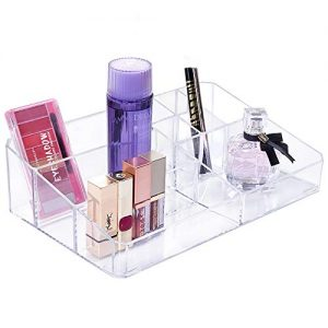 Benbilry Clear Makeup Organizer Tray, 9 Spaces Cosmetic Display Case Vanity Compartment Organizer Makeup Palette Brush Holder for Lipsticks, Makeup Brushes and Skin Care Products (9 Compartments)