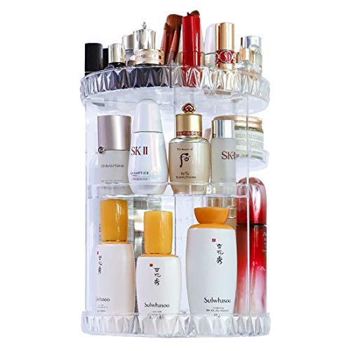 Makeup Organizer, 360 Degree Rotating Adjustable Cosmetic Storage Display Case with 8 Layers Large Capacity, Great for Jewelry,Makeup Brushes, Lipsticks and More, Clear Transparent