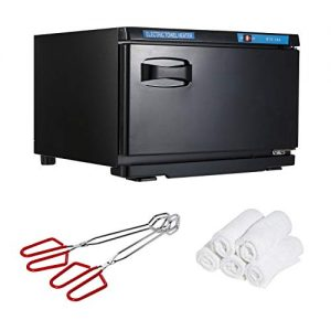 "Houseables Hot Towel Warmer, UV Sterilizer, 11"" x 17"", 1 Cabbie, 2 Pairs of Tongs, 5 Towels, Black, White, Red, Metal, Cotton, Steamer, Disinfection Light, For Spa, Salon, Barber, Facial, Massage"