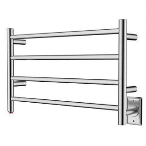 HEATGENE Towel Warmer 4 Bar Towel Dryer Wall-Mounted Plug-in Bath Towel Heater - Brushed
