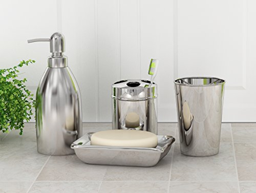 nu steel Gloss Stainless steel Bath Accessory Set for Vanity Countertops, 4 piece Luxury ensemble in Gloss Includes Dish, Toothbrush Holder, Tumbler, soap and Lotion Pump, Shiny/Brushed Steel