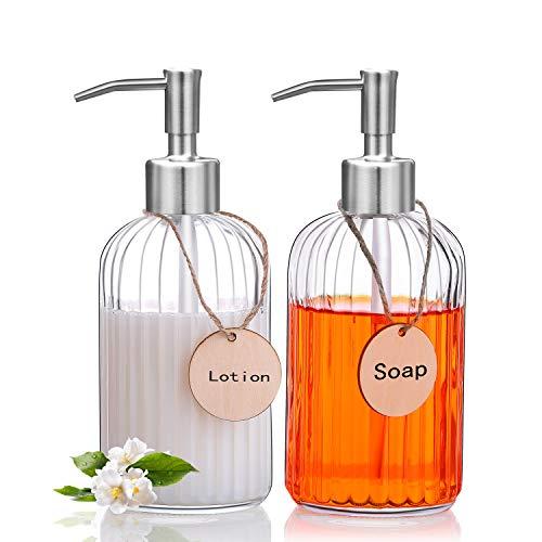 RELTTON Glass Soap Dispenser with Rust Proof Stainless Steel Pump, Refillable Liquid Hand Soap Dispenser for Bathroom, Premium Kitchen Soap Dispenser, Clear - 2 Pack