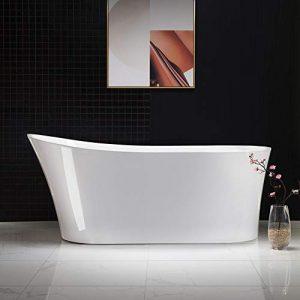 "Woodbridge B-0084/BTA-0084 B/N Acrylic Freestanding Bathtub Contemporary Soaking Tub with Brushed Nickel Overflow and Drain BTA0084-B,White, 67"" B-0084"