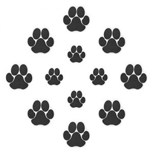 Ratgoo 12Pcs Dog Paw Footprint Non Slip Bathtub Stickers,Strong Adhesive Bathtub Appliques,Anti-Slip Bathtub Decals for Tub,Stairs,Kitchen,Shower Room,Treads,Bath Room,Floor,Swimming Pool.(Black)