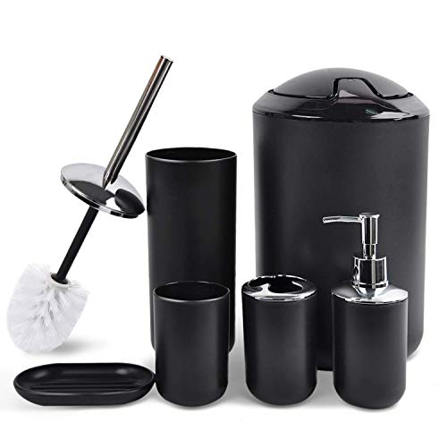 CERBIOR Bathroom Accessories Set 6 Piece Bath Ensemble Includes Soap Dispenser, Toothbrush Holder, Toothbrush Cup, Soap Dish for Decorative Countertop and Housewarming Gift, Black