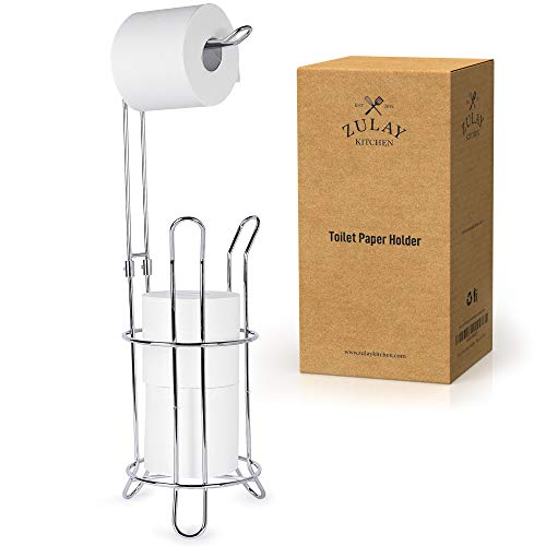 Zulay Toilet Paper Holder Stand for Bathroom - Toilet Paper Stand & Storage Holds 3 Extra Rolls - Portable Freestanding Toilet Paper Holders & Dispenser Stand for Restroom