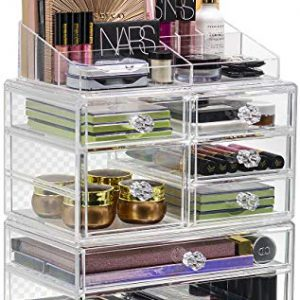 Sorbus Cosmetics Makeup and Jewelry Storage Case Display Set – Interlocking Drawers to Create Your Own Specially Designed Makeup Station – Stackable and Interchangeable (Clear)