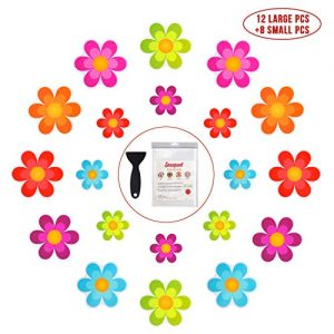 Bathtub Stickers Non-Slip, 20 PCS Safety Shower Treads Adhesive Bright Flowers Appliques with Premium Scraper