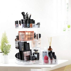 SUNFICON Large Makeup Organizer Makeup Storage Tray Rotating Cosmetic Holder 360 Spin Makeup Carousel Display Case Stand Caddy Vanity Bathroom Bedroom Countertop Birthday Christmas Gift Acrylic Clear