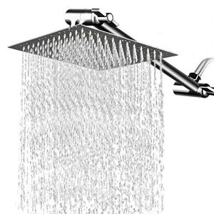8 Inches Square Rain Showerhead with 11 Inches Adjustable Extension Arm, Large Stainless Steel High Pressure Shower Head,Ultra Thin Rainfall Bath Shower with Silicone Nozzle Easy to Clean and Install