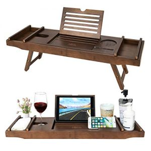 Bamboo Bathtub Caddy Tray with Extending Sides & Laptop Desk with Foldable Legs,Cellphone iPad Tray and Wineglass Holder,Free Soap Holder