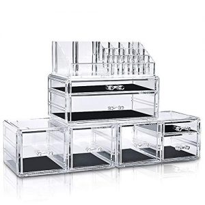 InnSweet 4 Pieces Makeup Organizer Cosmetic Storage Drawers and Jewelry Display Box, Acrylic Makeup Holders with 7 Drawers, Transparent