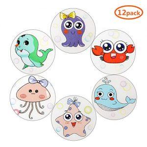 Rainmae 12 Set Baby Bathtub Sea Creatures Stickers, Non Slip Bathtub Stickers, Sea Adhesive Kids Anti Slip Decal Threads for Shower and Bath Tub, Adhesive Shower Safety Appliques for Kids Bath Tub
