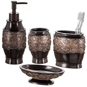 Creative Scents Dublin Bathroom Accessories Set, Bathroom Decor Sets Accessories Includes Soap Dispenser, Bar Soap Dish, Tumbler, and Toothbrush Holder for Your Vanity Countertop (Brown)