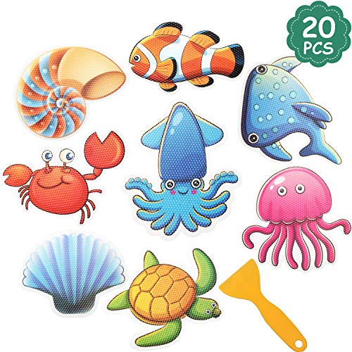 20 Pieces Non-Slip Bathtub Stickers Sea Creature Decal Treads Kids Adhesive Anti Slip Applique Safety Shower Floor Stickers for Bathroom Shower and Bath Tub with Scraper