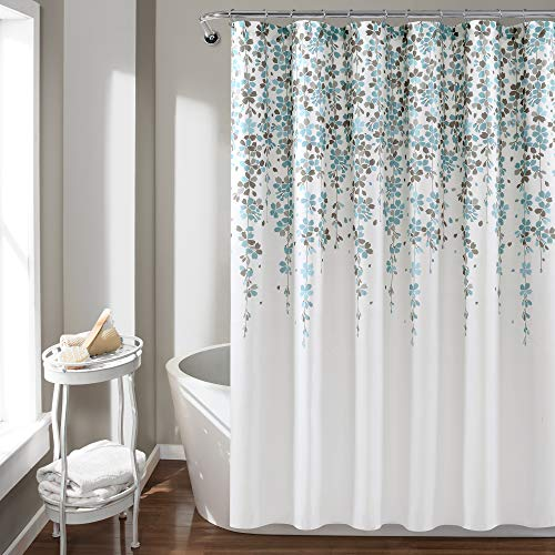 Lush Decor, Blue and Gray Weeping Flower Shower Curtain-Fabric Floral Vine Print Design, x 72